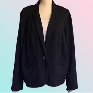 CATO navy one button blazer with contrast lining.